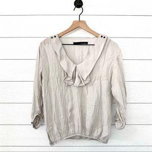 Zara basics ruffled front top